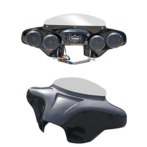 """Batwing Fairing for HD Road King with Stereo Speakers PRV250 and 4x5.25"""" Motorcycle Audio"""