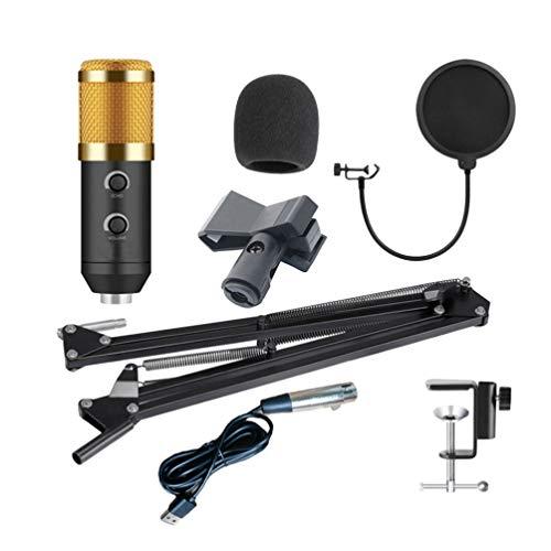 SUPVOX Juego de micrófonos de condensador cardioide bm900 profesional con soporte de brazo de tijera de suspensión ajustable para grabación de estudio de canto