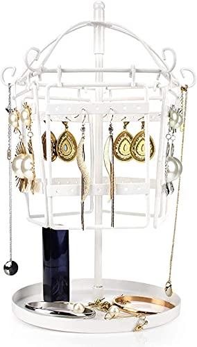 Soporte de metal para pendientes de hierro forjado giratorio, extraíble, soporte para joyas, pendientes, collares, pulseras, soporte.