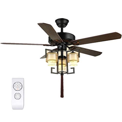 Ventilador de techo Hang Hugger Ventilador de Techo con 5 Luz Modernas LED de Luz de 3 Colores 5 Madera Paletas de Cocina Baño Dormitorio Interior Silencio Luz de Techo Ventilador Fácil instalación
