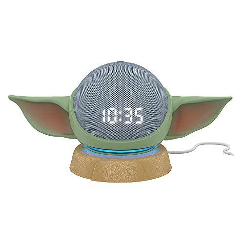 All-new Echo Dot (4th Gen) Smart Speaker with clock Twilight Blue with All New, Made for Amazon, featuring The Mandalorian Baby GroguTM-inspired Stand for Amazon Echo Dot (4th Gen)