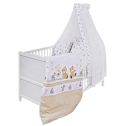 Urra Komplett-Kinderbett Luca 70x140 cm Kiefer weiß | teilmassiv | inklusive Bettset 3-teilig | Matratze | Himmelstange | Spielbär