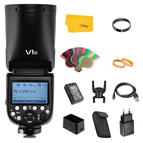 Godox V1N TTL Flash pour Nikon Caméra 2.4G sans Fil Contrôle Flash de Tête Ronde 1/8000s HSS avec Batterie Lithium Haute Performance pour la Photographie de Studio/Portrait/Mariage