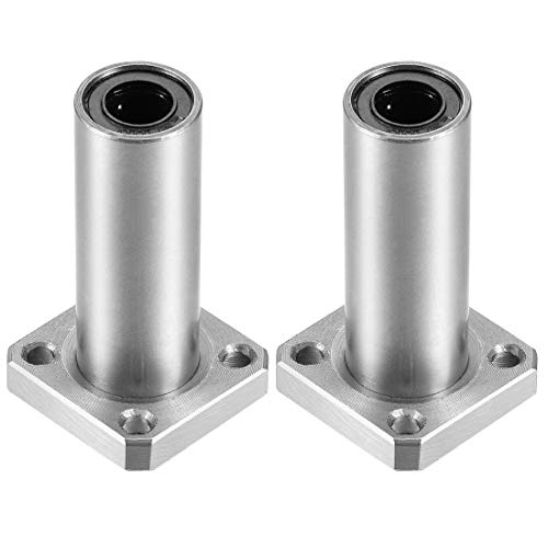 uxcell LMK8UU Extra Long Square Flange Linear Ball Bearings, 8mm Bore Dia, 15mm OD, 45mm Length(Pack of 2)
