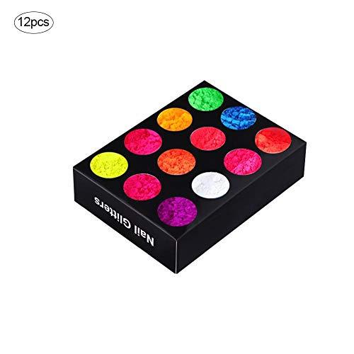 Sue-Supply 12 Kleuren Neon Kleuren Fosforescente Lichtgevende Fluorescerende Poeder Glow In Donkere Nagel Decoraties Nagel Art Acryl Gebruik DIY Kit