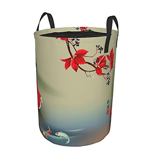 Cesto de lavandería redondo,geisha que alimenta a la bestia sagrada,época otoñal,cultura asiática,vibraciones orientales,cesto de ropa plegable,impermeable,con cordón,21.6'X16.5'