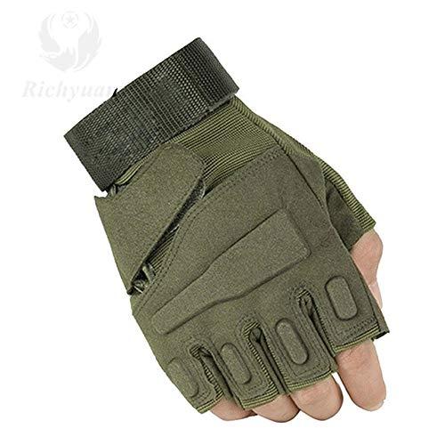 Lhbin Handschuhe Outdoor Sports Vollfinger Motorrad Skidproof Carbon Turtle Shell Handschuhe-T1140half grün-M