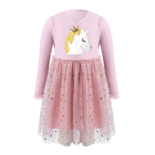 Alvivi Vestido Invierno Manga Larga para Niñas Disfraz de Unicornio Vestido Princesa de Fiesta Navidad Traje con Tutú Estrellas de Cumpleaños Rosa 5-6 años
