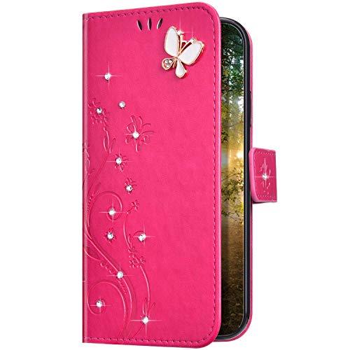 Uposao Kompatibel mit Samsung Galaxy A10 Hülle Glitzer Bling Strass Diamant Schmetterling Handyhülle Brieftasche Schutzhülle Leder Tasche Wallet Flip Case Cover Klapphülle Kartenfach,Rose
