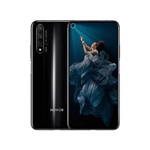 """HONOR 20 Smartphone,6GB RAM, Memoria 128 GB, 6.26"""" FHD+,CPU Kirin 980 Quadrupla Fotocamera Posteriore AI 48+16+2+2 MP,Fotocamera Anteriore da 32 MP, Impronta Digitale Montata Lateralmente,NFC,Nero"""