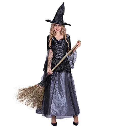 EraSpooky Disfraz de Bruja para Mujer Vestido de Fantasía Cosplay Traje de Fiesta de Halloween para Adulto