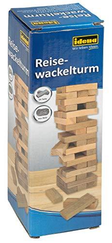 Idena 40206 Reisespiel Wackelturm, Geschicklichkeitsspiel mit 54 Bausteinen aus Holz, ca. 4,8 x 4,8 x 14,4 cm, Hellbraun