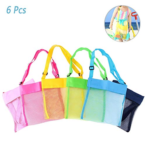 6Pcs Children's Colorful Mesh Beach Bags, Portable Foldable Sea Shell Bag/Toy Storage Bag for Kids Find Treasure [Blue, Pink, Green, Yellow and Sky Blue Rose]