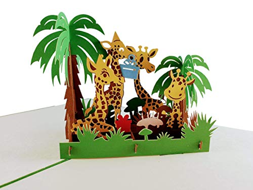 iGifts And Cards Awesome Giraffes Birthday 3D Pop Up Greeting Card - Happy Birthday, Feliz Cumpleaños, Celebrations, Wishes, Half-Fold, Animals, Fun, Funny, Best, Cute, Unique, Fancy, Safari, Mom Dad