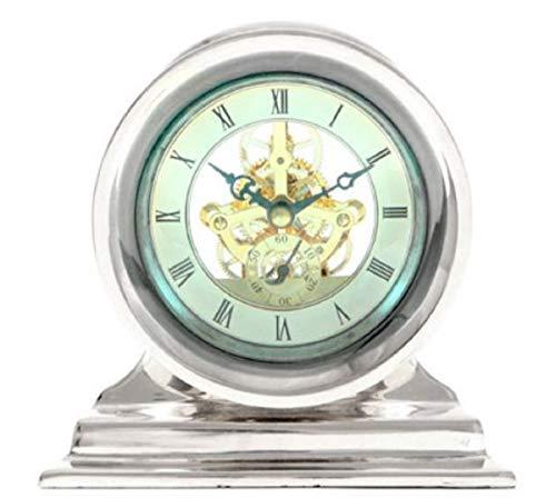 Casa Padrino Jugendstil Tischuhr Silber 18 x 8,5 x H. 17,5 cm - Schreibtischuhr - Wohnzimmer Büro Deko Accessoires