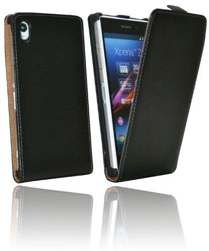 ENERGMiX Klapptasche Schutztasche kompatibel mit Sony Xperia Z1 in Schwarz Tasche Hülle