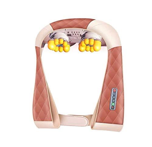 ZOUSHUAIDEDIAN Shiatsu masajeador de cuello y espalda con calor - 3 velocidades, 8 cabezas, 3D Amasar - Adaptador de enchufe del coche - hombro y el cuerpo completo masaje de tejido profundo - Multifu