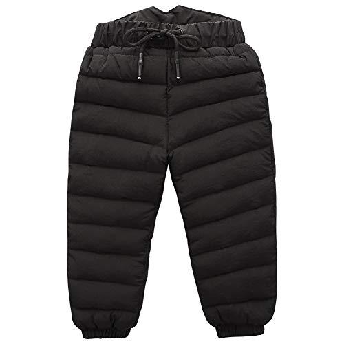 LSERVER Herbst und Winter Kinder Daunenhose Tether Hose Dicke Warme Kinderhose, Schwarz, 92/98(Fabrikgröße: 100)