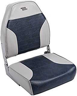 Wise 8WD588PLS-660 Mid-Back Fishing Boat Seat with Logo, (Grey/Navy)