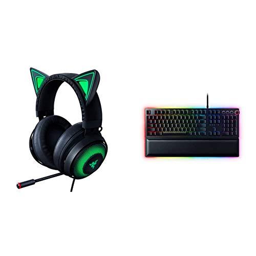 Razer Kraken Kitty RGB USB Gaming Headset- Classic Black & Huntsman Elite Gaming Keyboard: Fastest Keyboard Switches Ever - Clicky Optical Switches - Chroma RGB Lighting - Classic Black