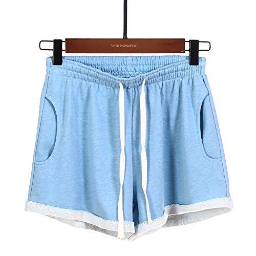 Pantalones Cortos para Mujer Moda Ocio Deportes Pantalones Cortos de Pijama para el hogar Fitness al Aire Libre Correr Pantalones Anchos Sueltos con puños L