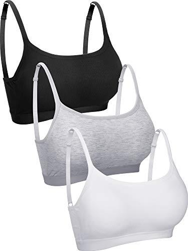 3 Pieces Mini Camisole Bra Wireless Padded Bra Tank Top Bra Seamless Sports Bra with Straps for Women Girls (Black, White, Grey, M)