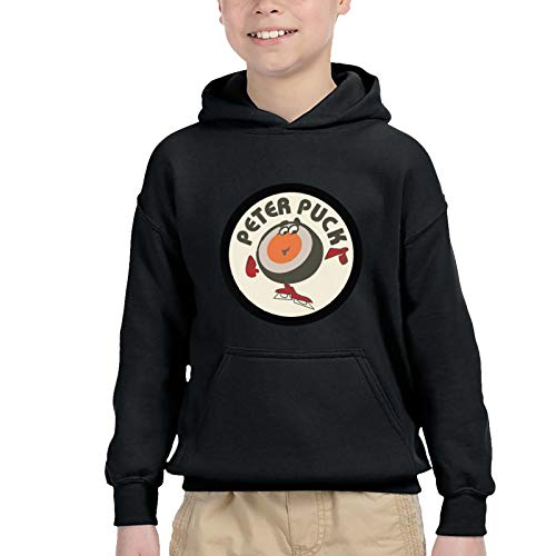 Hockey Night in Canada Bootleg Youngster Boys Long Sleeves Loose Hooded Winter Seatshirts Child Athletic Wear Black