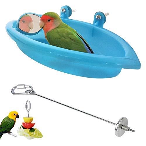 JEANGO Pincho de Loro Bañera para pájaro con Espejo, Tazón de Fuente de baño para pájaros Colgante de Aves Juguete Acero Inoxidable Loro Fruta Vegetal Carne Alimento Complemento para palitos(2PCS)