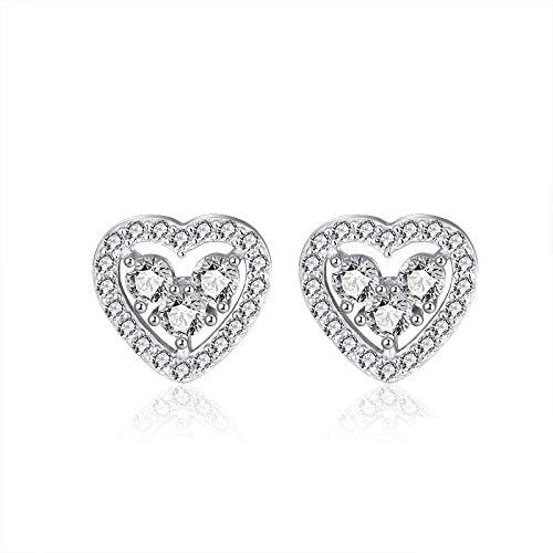 Pendientes de plata de ley S925 con circonita cúbica en forma de corazón y halo para mujer (rodio blanco) SE265