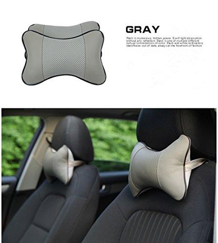 Solesu PU Car Guanciale Cervicale Respirare Auto Della Testa del Collo Resto Cuscino Poggiatesta Cuscino,Cuscino da Viaggio(2PCS,Grigio)