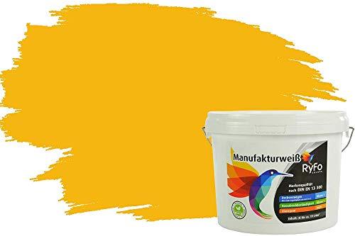 RyFo Colors Bunte Wandfarbe Manufakturweiß Sonnengelb 3l - weitere Gelb Farbtöne und Größen erhältlich, Deckkraft Klasse 1, Nassabrieb Klasse 1