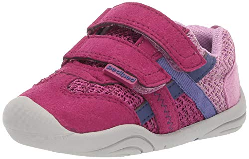 pediped Baby-Girl's Gehrig First Walker Shoe, Pink Berry, 23 Child EU Toddler (7 US)