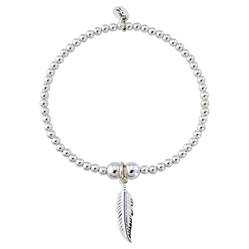 Trink Brand Angel Feather Sterling Silver Beaded Charm Bracelet