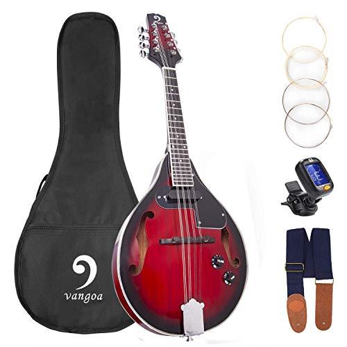Vangoa Caoba Mandolina Electro Acústica A-Estilo Bluegrass Mandolina de 8 Cuerdas, Rojo Sunburst, con Accesorios Principiantes