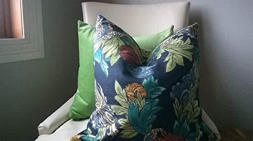 Alfery33red Ming Dragon Admiral azul cubre esmeralda verde caqui naranja verde azulado 18x18 pulgadas cáñamo vintage moderno simple elegante bloque de color funda de almohada decoración de dormitorio sofá cama