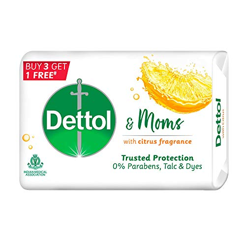 Dettol & Moms Bathing Soap Citrus, 75gm, Pack of 4