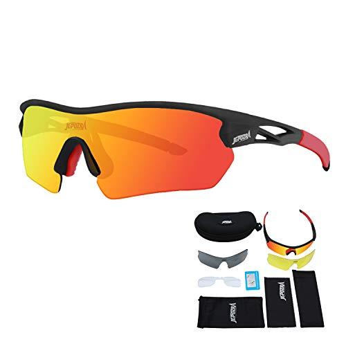 Gafas Ciclismo Hombre Mujer Gafas Bicicleta Montaña Gafas de Sol Deportivas Polarizadas Antivaho Antireflejo Anti Viento y UV Adaptadas a Deporte Carrera Running MTB
