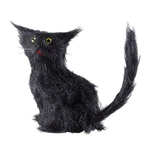 NET TOYS Gato Negro de decoración | 12 cm de Altura en Negro | Escalofriante Figura de decoración para el jardín elección para Halloween y Fiestas de Terror