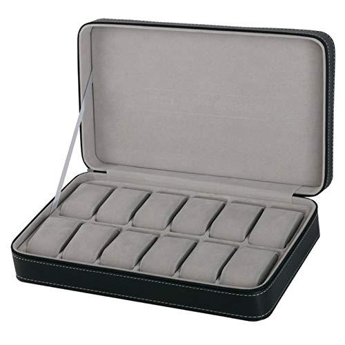 Caja para Relojes 6/10/12 Slot PU Cuchillo de Cuero Mostrar Caja Organizador Relojes Mostrar Caja de Almacenamiento Joyas Regalos de Almacenamiento para Hombres (Negro) Guarda Relojes/Estuche