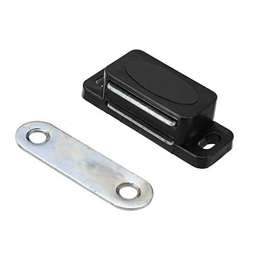 Yener Plastic Garderobekast Kastdeur Magnetische vergrendeling Klink Stopperhouder Zelfinstellende magneet Meubelen Hardware 2 stuks, zwart