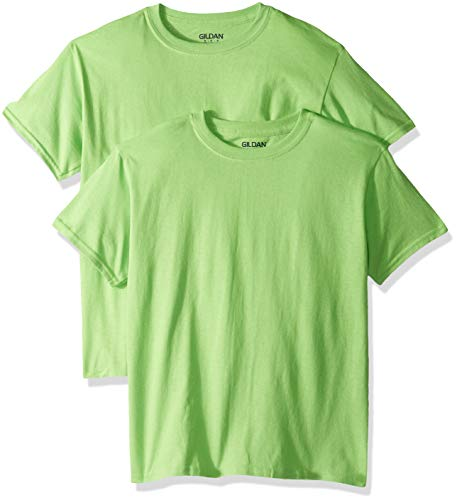 Gildan Kids' Big Heavy Cotton Youth T-Shirt, 2-Pack, Lime, Small