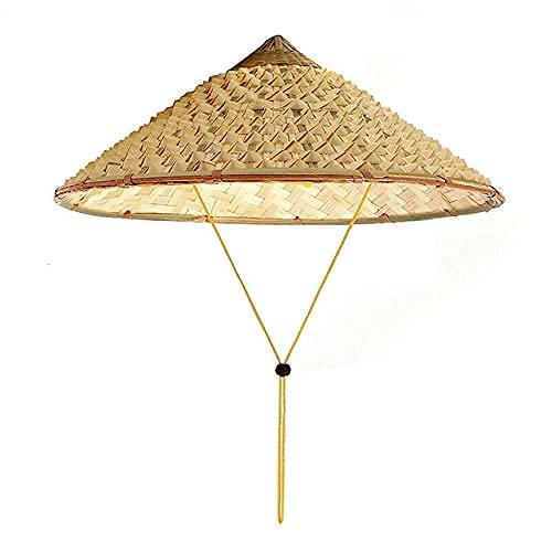 SFSGH Sombrero de Paja Vietnam Coolie Paja Cono de bambú Hecho a Mano Sombrero para el Sol Visera jardín Agricultor Pesca Hoja bambú