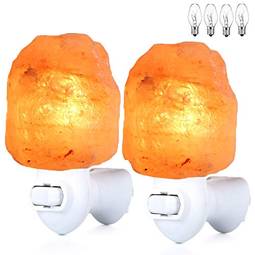 Pursalt Himalayan Salt Lamp Night Light Plug in, Night Lights Plug into Wall with Extra 4 Replacement Bulbs, Certificated 360 Degree Rotatable Wall Plug, Pink Crystal Rock Salt Lamp Natural 2-Packs