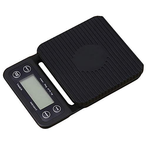 HEWEI Balanza electrónica balanza de café Digital por Goteo de Mano con Temporizador Sensores de Alta precisión LCD Balanza de balanza electrónica Balanza de café para Cocina 3 kg 0.1 g Negro