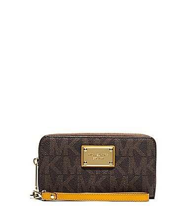 Durable MK printed saffiano leather with contrast sunflower leather trim Measures approx. 6.5 inch x 3.5 inch x 1 inch; detachable wrist strap Zip around closure; three compartment with three credit card slots; zip coin pocket Center compartment for ...
