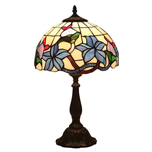 YQG 12 Inch gebrandschilderd glas Tiffany stijl pastorale tafellamp zon bloem roos lelie bloemen lamp schaduw voor slaapkamer nachtkastje woonkamer studie café, blauw