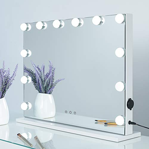 SHOWTIMEZ Hollywood Lighted Vanity Mirror with 12 LED Bulbs, Frameless Tabletop or Wall Mounted Makeup Mirror with Smart Touch Control, W22.8xH17.5in.