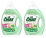 Le Chat Eco Sensitive – Lessive Liquide Hypoallergénique – Aloé Vera & Thé Vert – 80 Lavages (Lot de 2 x 2L)
