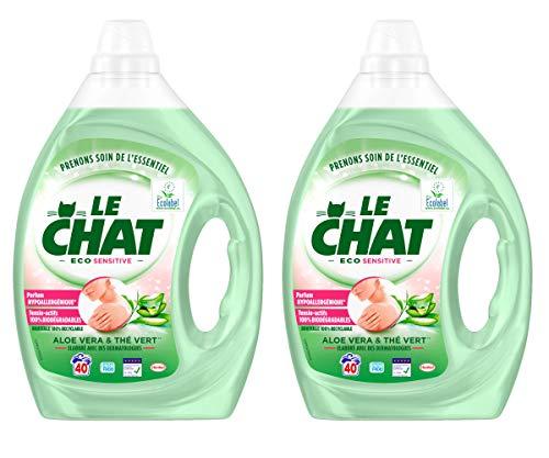 Le Chat Eco Sensitive – Lessive Liquide Hypoallergénique – Aloé Vera & Thé Vert – 80...