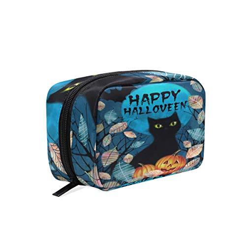 Mnsruu Happy Halloween calabaza gato gatito maquillaje cosmético portátil bolsa organizador de capacidad bolsa de almacenamiento regalo para mujeres y niñas